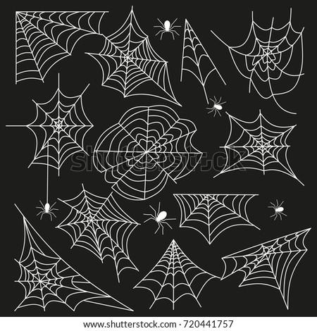 cobweb set spider web halloween black stock vector royalty free