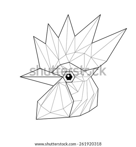 Cock. Low polygon linear vector illustration - stock vector