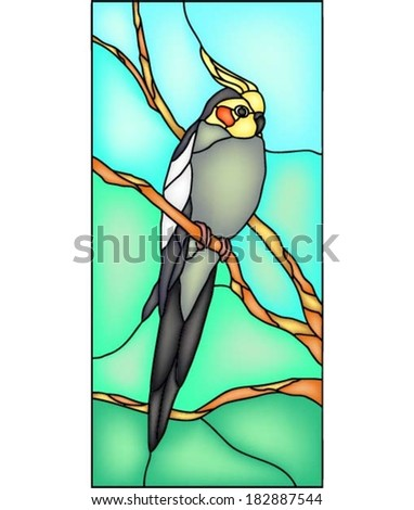Cockatiel parrot, vector illustration in stained glass window - stock vector