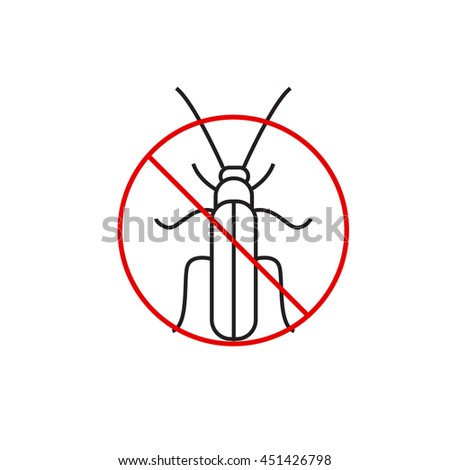 Cockroach prohibiting sign. Cockroach outline icon  - stock vector