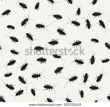 Cockroach silhouette in seamless pattern. isolated vector object and background. - stock vector