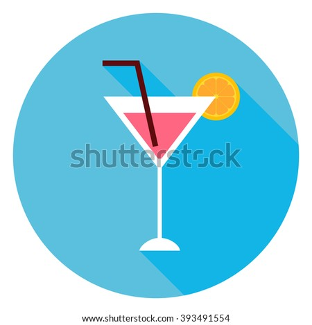 Cocktail Alcohol Drink Circle Icon. Flat Design Vector Illustration with Long Shadow. Party Drink with Orange Slice Symbol.