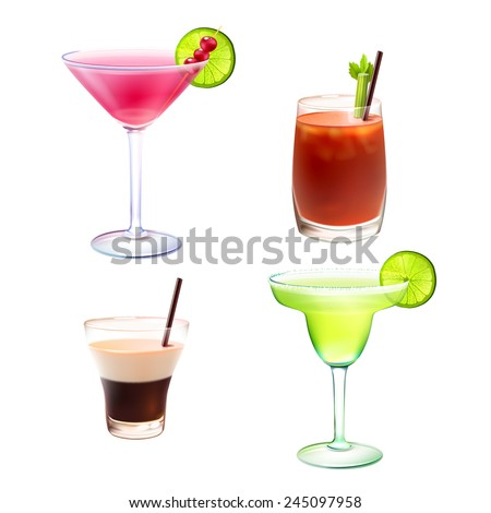 Cocktail alcohol drinks realistic decorative icons set with cosmopolitan bloody mary b-52 margarita isolated vector illustration - stock vector