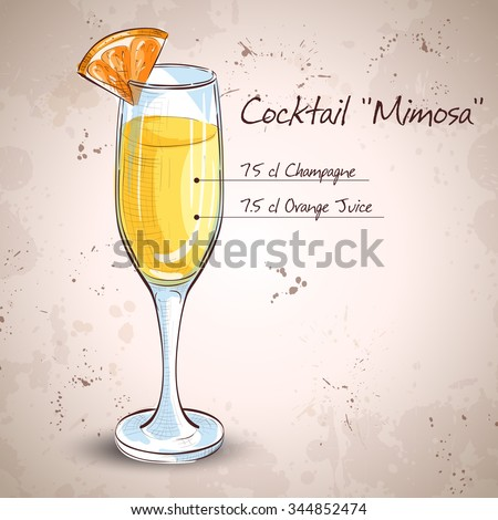 Cocktail alcohol Mimosa with Champagne, orange juice, orange - stock vector