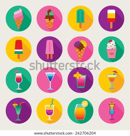 cocktail and ice-cream - stock vector
