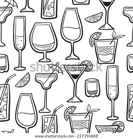 Cocktail background  black and white - stock vector