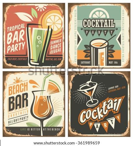 Cocktail Bar Retro Tin Sign Set Stock Vector 361989659 ...
