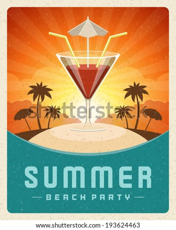 Cocktail beach party summer holidays vector poster or background.
