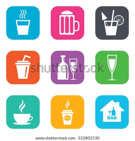 Cocktail, beer icons. Coffee and tea drinks. Soft and alcohol drinks symbols. Flat square buttons. Vector - stock vector