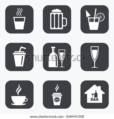 Cocktail, beer icons. Coffee and tea drinks. Soft and alcohol drinks symbols. Flat square buttons with rounded corners.