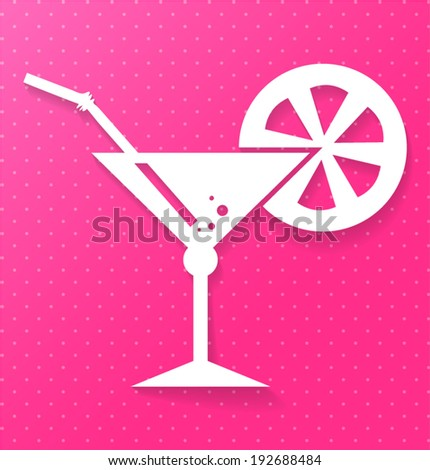 Cocktail carved icon on colored background