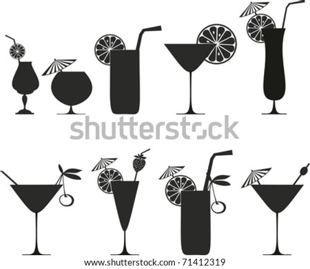 Cocktail Collection Isolated on White Background. Silhouette - stock vector