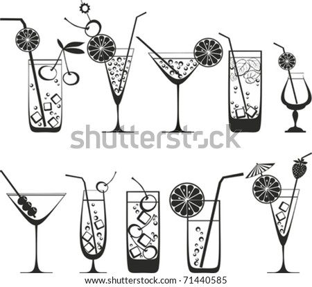 Cocktail Collection Isolated on White Background. Vector illustrations. - stock vector