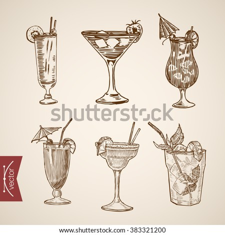 Cocktail creme liquor aperitif alcohol glasses set. Engraving style pen pencil crosshatch hatching paper painting retro vintage vector lineart illustration. - stock vector