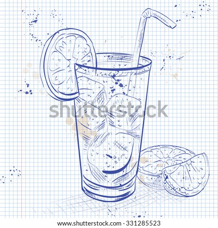 Cocktail Cuba Libre with lime and Cola, low-alcohol drink on a notebook page