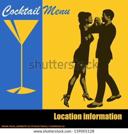 Cocktail Dance, Vector background illustration with a pair of dancers for a event menu for flyer