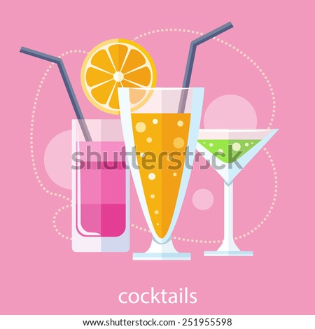 Cocktail drink fruit juice in flat design style. Retro style holiday cocktails. Set of alcoholic cocktails - stock vector