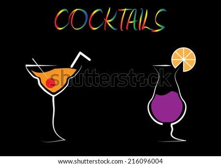 Cocktail Drinks Background. Vector