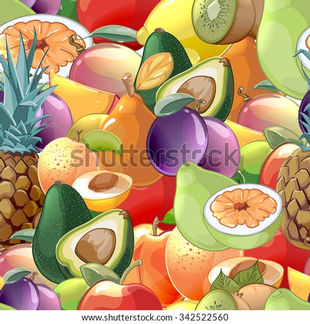 Cocktail fruits and berries seamless pattern background. Kiwi and avocado, raw and plum, peach and pear, tasty apple and pineapple, vector illustration - stock vector