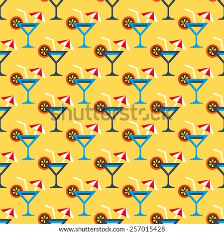 cocktail glass and drink pattern - stock vector