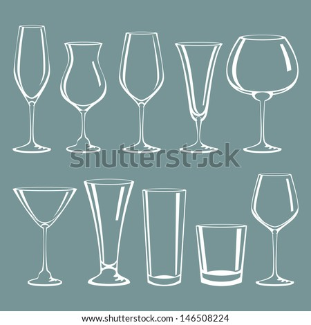 Cocktail glass collection - stock vector