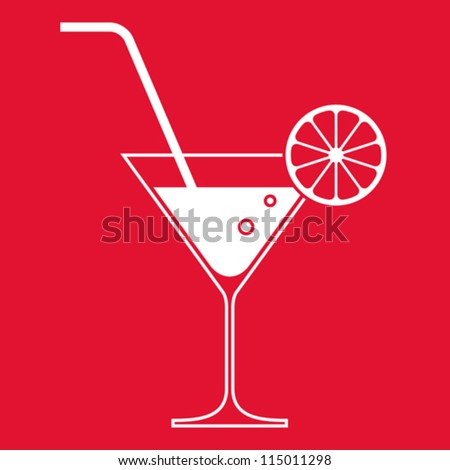 Cocktail glass with lemon and drinking straw - stock vector