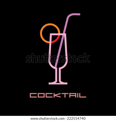 "Cocktail glass with straw - neon light sign with text ""Cocktail"". Isolated vector icon on black background. - stock vector"