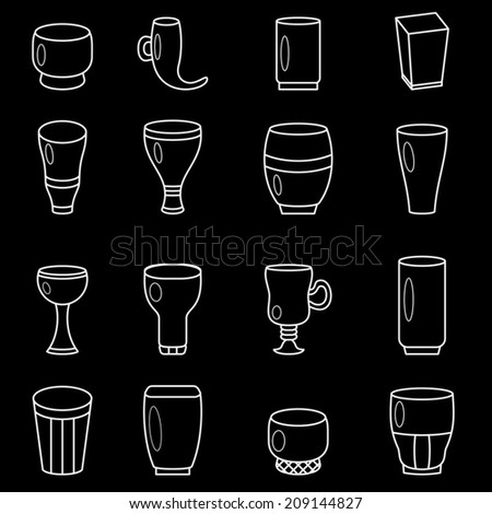 Cocktail glasses collection, glasses goblets, white lines icons set on black background,  vector illustration