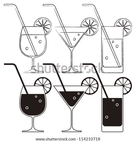 Cocktail glasses with lemon and drinking straw - stock vector