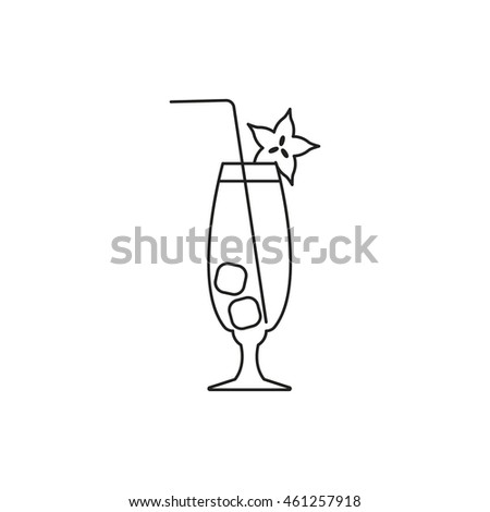 Cocktail icon outline vector contour isolated on white background