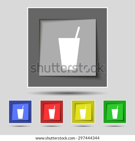 cocktail icon sign on original five colored buttons. Vector illustration