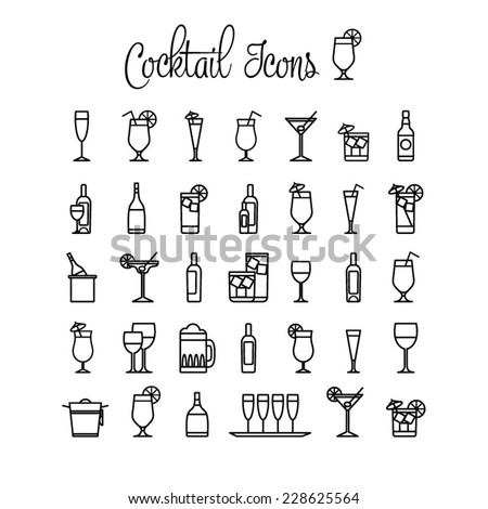 Cocktail icons. - stock vector
