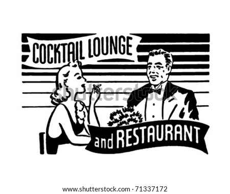 Cocktail Lounge And Restaurant - Retro Ad Art Banner - stock vector