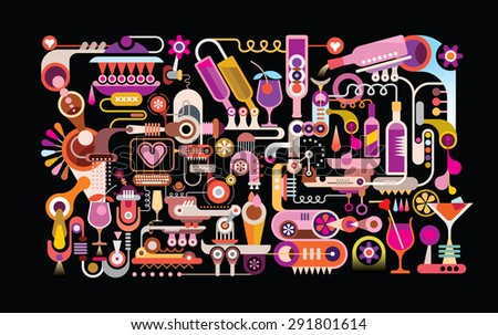 Cocktail Machine vector illustration. Isolated on black background. Abstract colorful graphic design. - stock vector