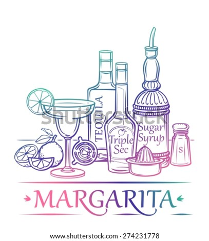 Cocktail Margarita with ingredients ( tequila, orange liqueur, sugar syrup, limes, salt ) and barman's instruments - stock vector