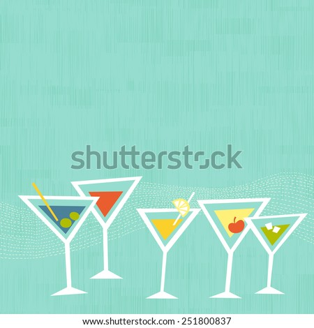 Cocktail martini glasses on mint background. Space for copy/text. Layered vector file, for easy manipulation
