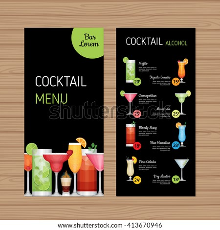 Cocktail Menu Design Alcohol Drinks Leaflet Stock Vector 413670946 ...
