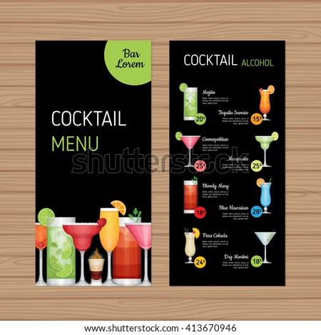 Cocktail Menu Design Alcohol Drinks Leaflet Stock Vector 413670946 ...