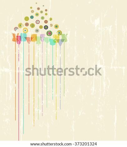 cocktail menu design template, free copy space, fictional artwork - stock vector