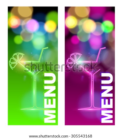 Cocktail menu (vector image) - stock vector
