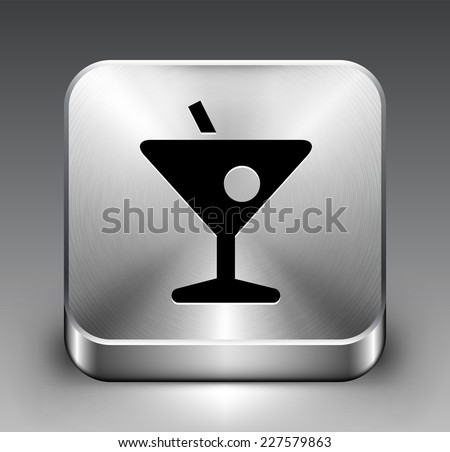 Cocktail on Silver Square Button
