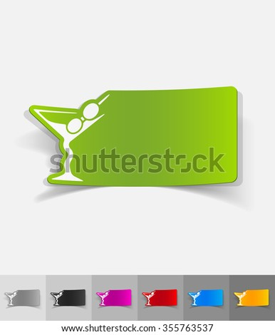 cocktail paper sticker with shadow. Vector illustration
