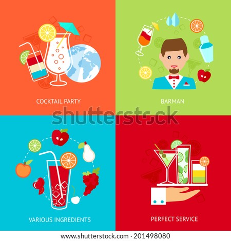Cocktail party barman various ingredients perfect service decorative icons set isolated vector illustration - stock vector