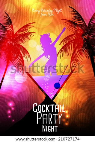 Cocktail Party Invitation Poster Template - Vector Illustration - stock vector