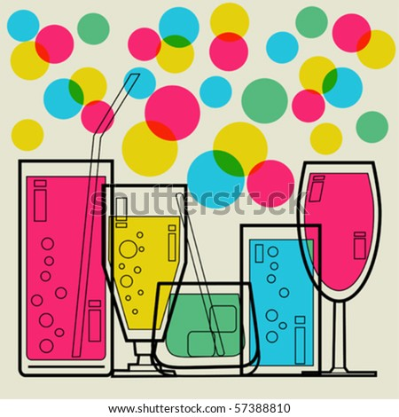 Cocktail Party invitation - Retro styled vector - stock vector