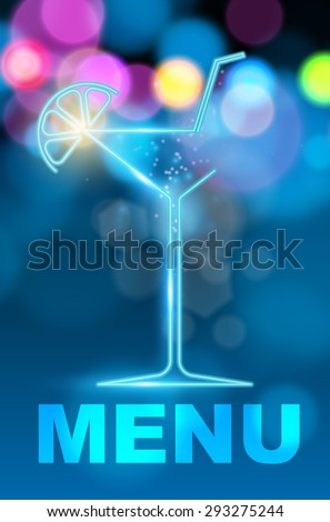 Cocktail party menu (vector image) - stock vector