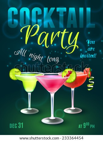 Cocktail party poster with alcohol beverages in glasses on dark blue background vector illustration. - stock vector