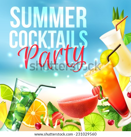 Cocktail party summer poster with alcohol drinks in glasses on blue background vector illustration - stock vector