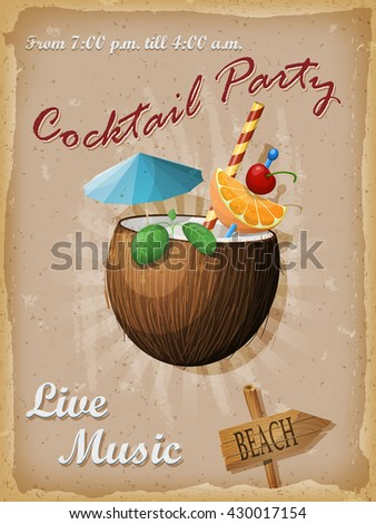 Cocktail party vintage poster. Coconut cocktail. Vector illustration. - stock vector