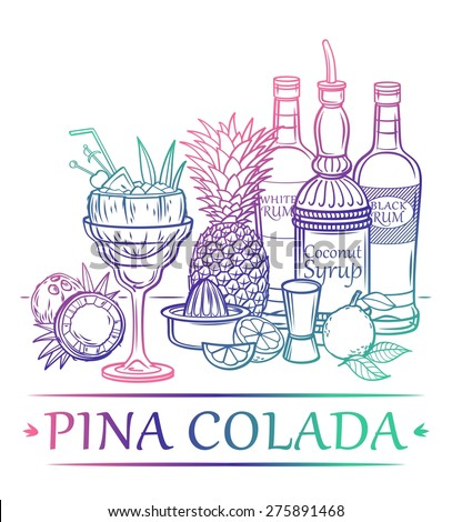 Cocktail Pina Colada with ingredients ( white and black rum, coconut syrup, coconut, pineapple, lime, pineapple leaves, ice ) and barman's instruments - stock vector